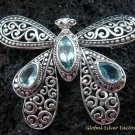 925 Silver & Blue Topaz Butterfly Brooch BC-161-KT