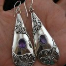 Large Silver Amethyst Bali Design Earrings ER-423-KT