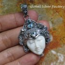 Sterling Silver and Blue Topaz Goddess Pendant GDP-1285-KT