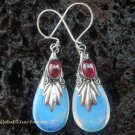 Silver Garnet & Opalite Teardrop Earrings SJ-130-KT