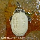 Sterling Silver and Peridot Lady Cameo Pendant BP-175-KT