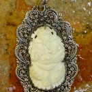 Sterling Silver Carved Bone Ganesh Pendant BP-181-KT