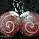 Sterling Silver  Round Red Shell Earrings ER-540-KT