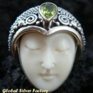 Sterling Silver Peridot Carved Bone Goddess Ring GDR-224-PS