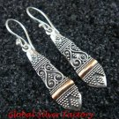 Sterling Silver Two Tones Traditional Bali Earrings GPE-121-KT