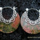 925 Silver & Round Ocean Jasper Earrings ER-555-KT