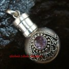 New Model 925 Silver Bali Ornate Cremation Pendant w/Amethyst PP-383-KT