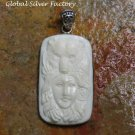 Silver Carved Lady and Bear Pendant BP-208-KA