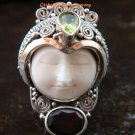 Sterling Silver Carved Face Goddess Ring w/Gem GDR-1132-PS
