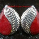 Sterling Silver Leaf Design Red Coral Gemstone Earrings ER-661-PS