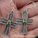 Sterling Silver Peridot Cross Earrings ER-726-KA