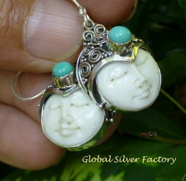 Silver and Turquoise Naya Goddess Earrings GDE-1236-KT