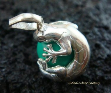 925 Silver Green Gecko Chime Ball 12mm CH-314-KT