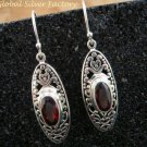 Sterling Silver & Garnet Bali Designer Earrings ER-755-KT