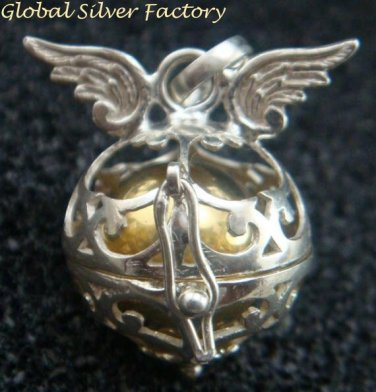Sterling Silver Angel Wings Harmony Ball / Pergnancy Ball/ Mexican Bola Pendant HB-375-KT