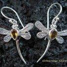 925 Silver & Citrine Dragonfly Earrings ER-550-KT