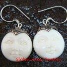 Handmade 925 Silver Moon Face Carved Ox Bone Earrings GDE-1154-KA