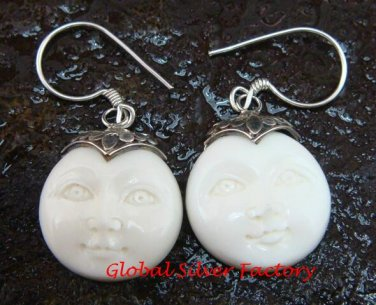 Handmade 925 Silver Moon Face Carved Ox Bone Earrings GDE-1154-KA