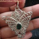 Sterling Silver & Green Quartz Butterfly Pendant SP-697-KA