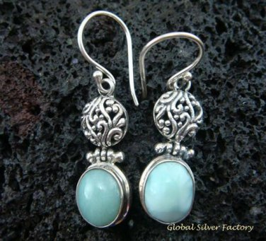 925 Silver Bali Design Larimar Earrings ER-490-NY