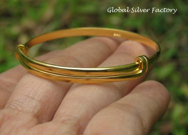 Sterling Silver & 22kt Gold Vermeil Adjustable Baby Toddler Bangle SBB-479-KA