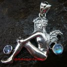 Sterling Silver, Moonstone, Amethyst Fairy Pendant SP-511-PS
