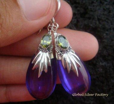 Silver Peridot & Synthetic Teardrop Amethyst Earrings SJ-140-KT