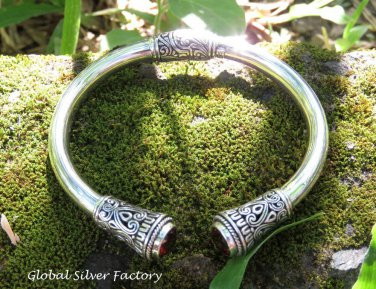 Sterling Silver and Garnet Bangle SBB-485