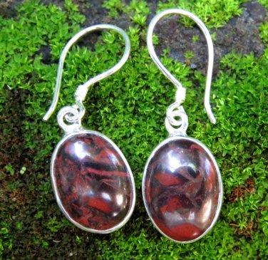 Silver and Bloodstone Earrings ER-872