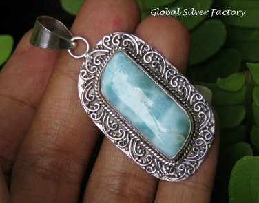Filigree Silver and Larimar Pendant SP-851