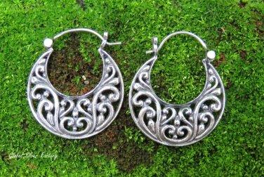 Sterling Silver Bali Filigree Hoop Earrings SE-282