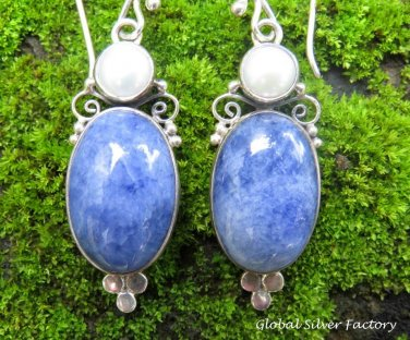 Sterling Silver Sodalite & Pearl Dangle Earrings ER-845
