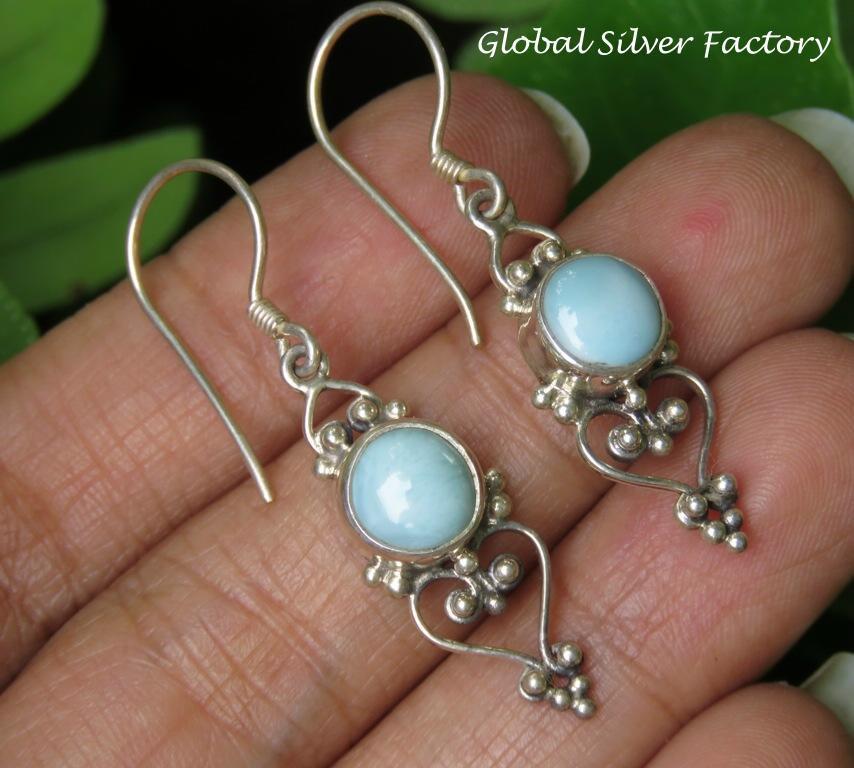 Balinese Style Larimar Dangle Earrings ER-856-NY