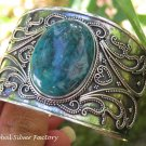 Handcrafted Sterling Silver and Chrysocolla Bangle SBB-487