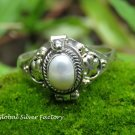 Silver and Pearl Poison Locket Ring LR-753