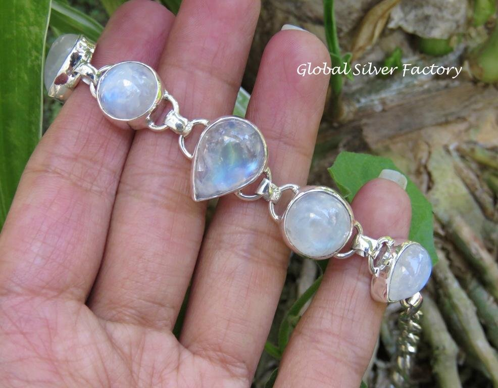 Rainbow Moonstone and Sterling Silver Bracelet SBB-493
