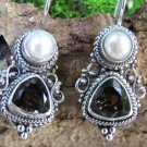 Smokey Quartz and Pearl Silver Earrings ER-870