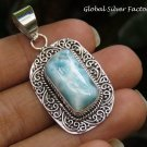 Filigree Silver and Larimar Gemstone Pendant SP-863