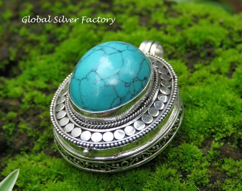 Turquoise Balinese Prayer Locket Pendant LP-252