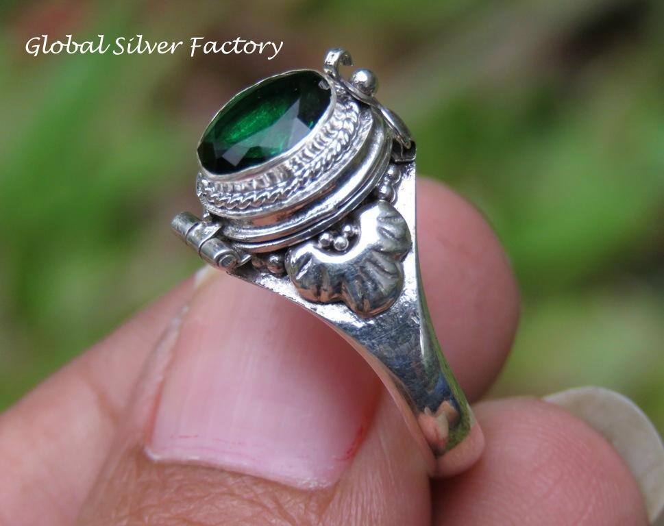 Green Quartz Poison Locket Ring LR-752