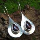 Teardrop Sterling Silver and Garnet Earrings ER-869