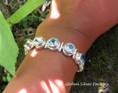 Blue Topaz and 925 Silver Bracelet SBB-490
