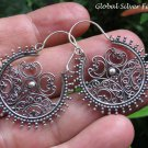 Sterling Silver Bali Filigree Hoop Earrings SE-258