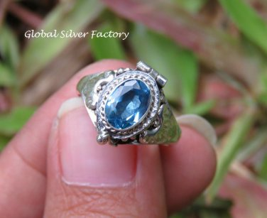 Blue Topaz Poison Locket Ring LR-755