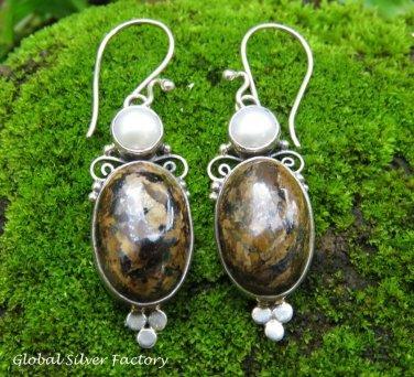 Sterling Silver Leopard Skin Jasper & Pearl Gemstone Earrings ER-846