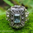 Handcrafted Blue Topaz Poison Locket Ring LR-748-NY