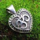 Sterling Silver Om Design Heart Pendant SSP-163