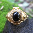 Black Onyx and 18k Gold Poison locket Ring GPR-154