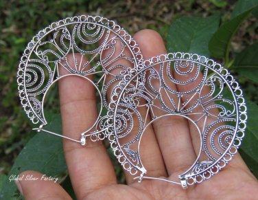 Sterling Silver Filigree Design Earrings SE-287