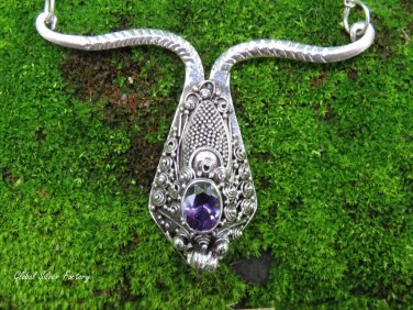 Sterling Silver and Amethyst Snake Head Necklace NS-138